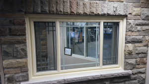 End Vent Window Style, Vinyl Window, Brick to Brick, Cream Colour, Renova